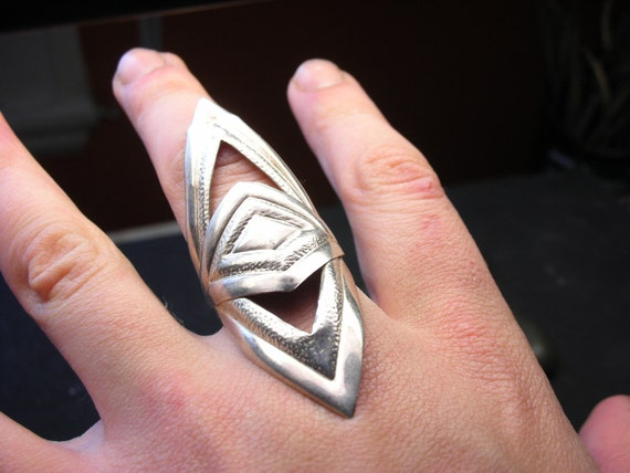 SALE - 50% off original price -Statement ring made using vintage jewelry - Size 7