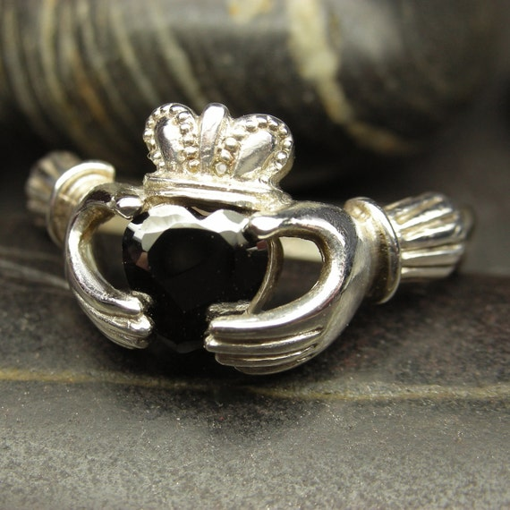 Black CZ Claddagh ring Sterling silver - Size 10 ready to be shipped
