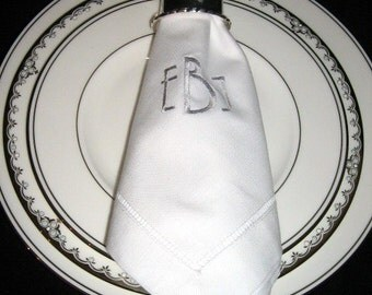 Monogrammed Linen Dinner Napkins 20 x 20 Set of 6