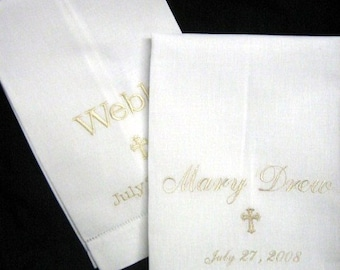 Embroidered Linen Towel | Christening or Baptismal Cloth | Baptism | Dedication | Church | Towel | Personalized Monogrammed | Lucy's Pocket