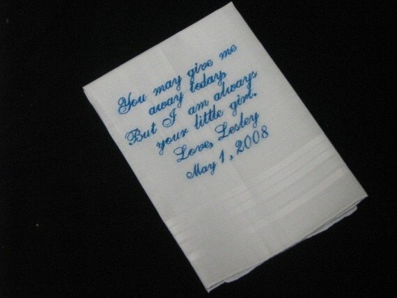 Embroidered Ladies Bridal or Mens Wedding Handkerchief   Hankie  Hankerchief    Personalized   Monogrammed   Lucy's Pocket