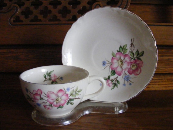 Vintage Pink Apple Blossom Tea Cup and Saucer