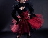 Adult tutu skirt Ring Master huge poofy red black carnival vampire halloween dance noir goth club - You Choose Size - Sisters of the Moon
