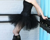 Midnight  black extra poofy tutu skirt Adult--Small