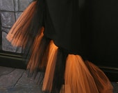 Witchy Sexy Gothic Flamenco tulle Skirt Prom black and orange witch belly dance salsa --You Choose Size