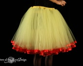 Adult tutu skirt Snow White inspired yellow red trimmed layered dance ballet style tutu knee length - You Choose Size - Sisters of the Moon