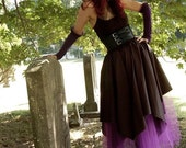 Gothic handkerchief asymmetric style long skirt purple and black goth steampunk ren faire bridesmaid -You Choose Size - Sisters of the Moon