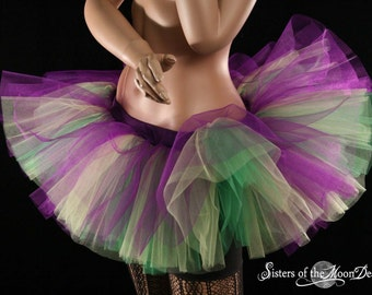 Adult tutu Mardi Gras Peek a boo mini purple yellow and green skirt ballet dance roller derby style - You Choose Size - Sisters of the Moon