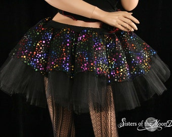 Midnight Raindrops Raver Tutu skirt Adult black with rainbow dots fabric tulle mid thigh length goth gothic dance wear - All sizes - SOTMD