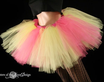 Sun Burst Monster adult tutu skirt extra puffy dance roller derby costume club rave yellow pink -- You Choose Size -- Sisters of the Moon