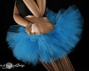 Adult tutu Mini All Turquoise Peek a boo style skirt dance costume roller derby -- You Choose Size -- Sisters of the Moon