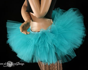 tutu skirt Adult Mini mirco All teal Peek a boo style dance roller derby costume bridal -You Choose Size Dance Halloween Fairy