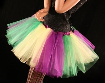 Mardi Gras stripe poofy tutu skirt adult green purple yellow carnival party halloween costume dance - You Choose Size - Sisters of the Moon