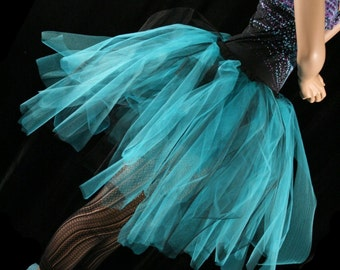 Turquoise and black Adul tutu skirt Streamer style knee length dance ballet costume race halloween - You Choose Size - Sisters of the Moon