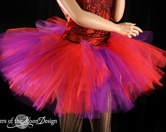 tutu skirt Red and Purple Splash Monster adult extra puffy -- You Choose Size -- Sisters of the Moon halloween