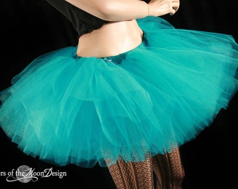 Teal tutu skirt adult extra poofy dance roller derby style costume petticoat club wear ballet --You Choose Size -- Sisters of the Moon