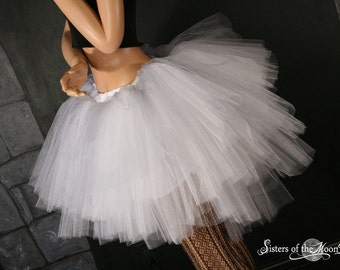 Ice Queen Fairy tutu skirt Ring Master white silver huge poofy adult --You Choose Size