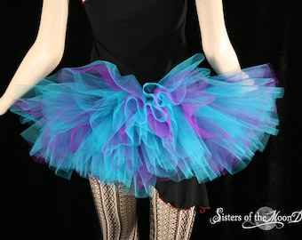 Peek a boo mini purple and turquoise tutu skirt Adult gogo dance race run  -- You Choose Size -- Sisters of the Moon