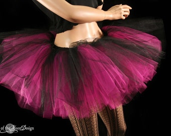 Adult tutu skirt tulle Layered two tone gothic dance fuchsia black petticoat club wear dance ballet - You choose size -- Sisters of the Moon