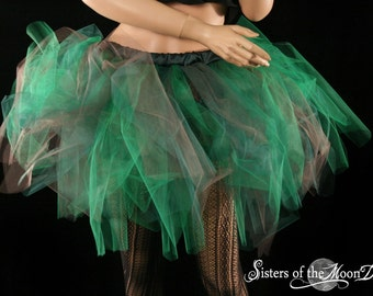 Tutu skirt Forest Fairy Streamer knee length brown and green adult halloween costume --You Choose Size -- Sisters of the Moon