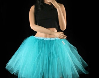 Teal Romance dance tutu skirt extra poofy knee length Adult petticoat bridal princess -- You Choose Size -- Sisters of the Moon