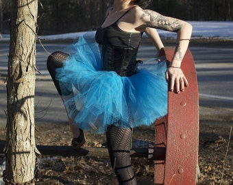 Turquoise blue tutu tulle skirt adult petticoat race run tutu dancer ballet roller derby club rave  - You Choose Size - Sisters of the Moon