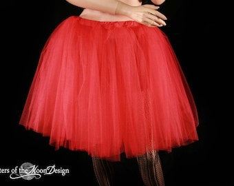 Ready to Ship - Red Romance Lydia Tutu skirt extra poofy knee length Halloween Adult costume holiday dance - Medium - Sisters of the Moon