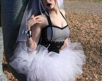 Pure White tutu UV reactive extra poofy skirt Adult dance bridal roller derby  halloween club gogo -- You choose Size -- Sisters of the Moon