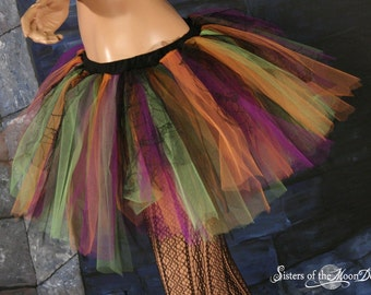 Adult tutu skirt Screaming Witchy purple black orange and green bats halloween costume witch -You Choose Size -- Sisters of the Moon
