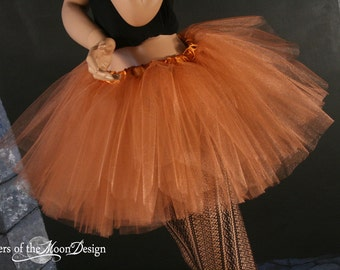 Copper iridescent adult tutu skirt glimmer tulle bridal petticoat dance costume halloween metallic -- You Choose Size -- Sisters of the Moon