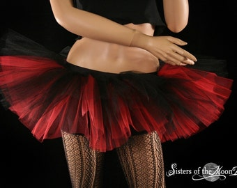 Peek a boo tutu mini micro black red skirt Adult halloween costume dance gothic derby --You Choose Size - Sisters of the Moon