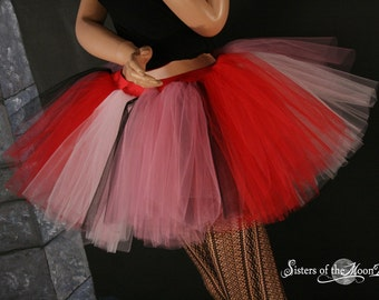 Valentine tulle tutu skirt Adult Extra puffy pink red layered pastel goth race costume club wear rave -You Choose Size - Sisters of the Moon
