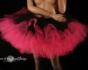 Shocking Petticoat tutu skirt black and hot pink extra poofy Adult --You Choose Size -- Sisters of the Moon