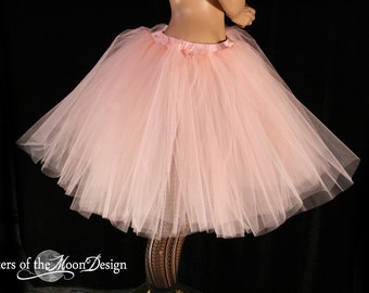 Adult tutu Peach Romance petticoat bridal tulle skirt poofy knee length costume halloween wedding - You Choose Size - Sisters of the Moon
