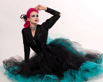 Ultra huge tulle tutu skirt w/ bustle back black teal fantasy steampunk victorian noir wedding bridal skirt -All Sizes- Sisters of the Moon