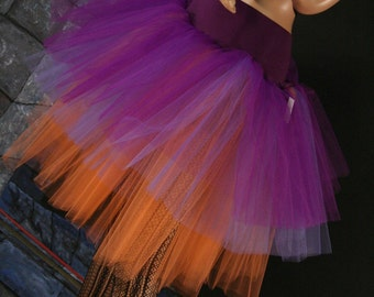Three Layer Petticoat tutu skirt witch gypsy purple orange Adult haslloween costume -- You Choose Size -- Sisters of the Moon