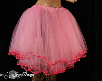 Adult tutu skirt Paris little frills hot pink trimmed layered dance ballet style tutu knee length  -- You Choose Size -- Sisters of the Moon