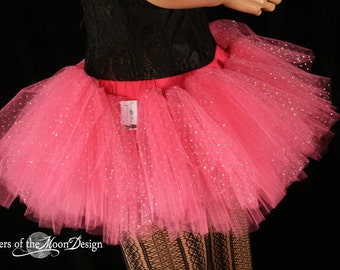 Adult tutu Mini All pink princess sparkle Peek a boo style skirt dance costume roller derby --You Choose Size