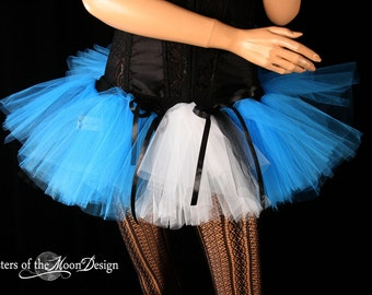 Sexy Dark Alice Adult tutu Mini skirt Turquoise Peek a boo style dance costume roller derby --You Choose Size