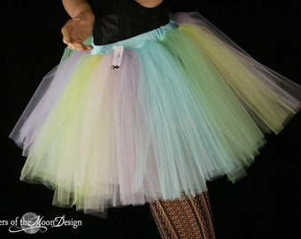 Adult tutu skirt Pastel Rainbow extra poofy pride costume halloween roller derby style -- You Choose Size -- Sisters of the Moon