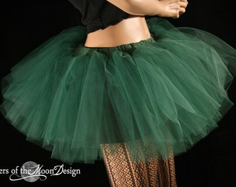 Tutu skirt tulle Forest dark emerald green Adult dance roller derby costume ballet run fairy cosplay -You Choose Size - Sisters of the Moon