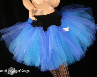 Adult tutu two tone skirt extra poofy royal turquoise party new years roller derby costume run  -You choose size - Sisters of the Moon