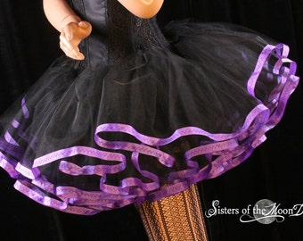 adult tutu skirt purple Black petticoat trimmed Halloween costume extra poofy dance bridal  - You Choose Size - Sisters of the Moon