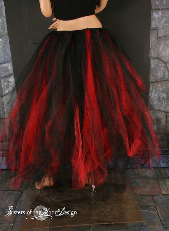 Gothic Wedding Tutu Tulle Skirt Streamer Floor Length Formal Dance Prom Red Black Bridal Party Goth Vampire Costume You Choose Size SOTMD