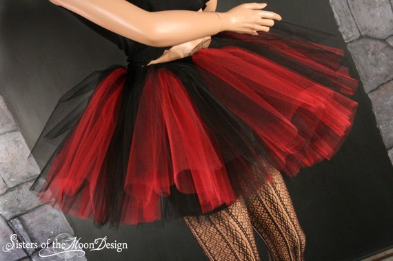 Tutu Skirt Peek A Boo Three Layer Black And Red Adult You Choose Size Sisters Of The Moon