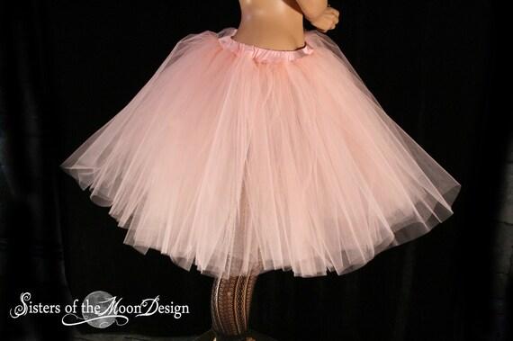Adult tutu Peach Romance petticoat bridal tulle skirt poofy knee length costume halloween wedding - You Choose Size - Sisters of the Moon