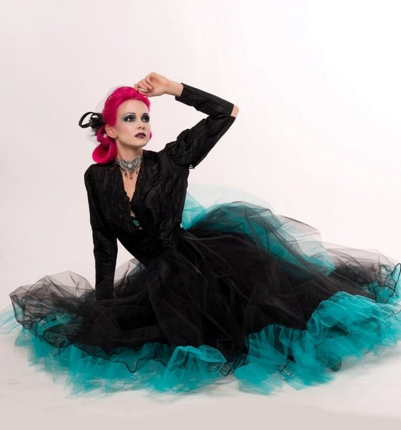 Formal Ultra huge Petticoat tutu skirt with bubble bustle back black and teal extra poofy Adult --You Choose Size -- Sisters of the Moon
