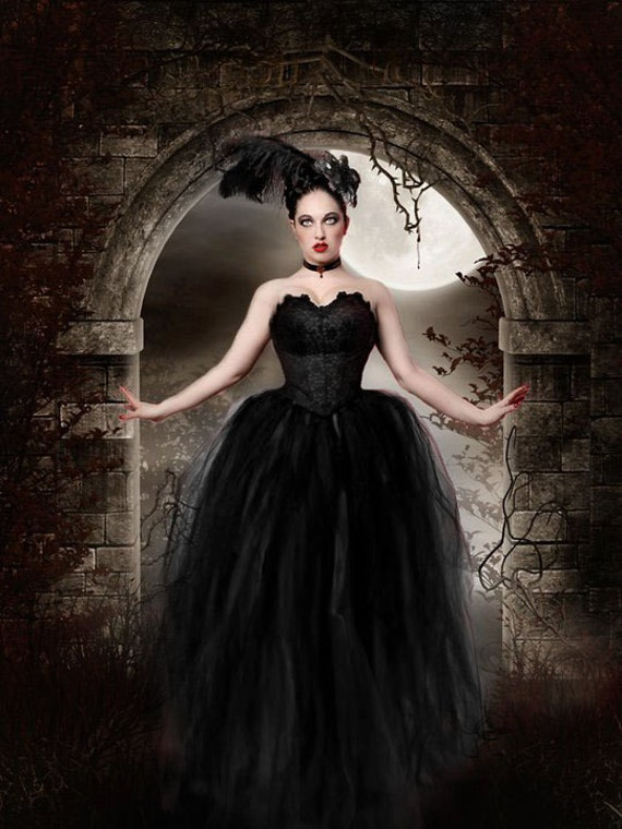 MIdnight Gothic Bridal tulle skirt tutu Streamer floor length formal black halloween wedding costume -You Choose Size - Sisters of the Moon