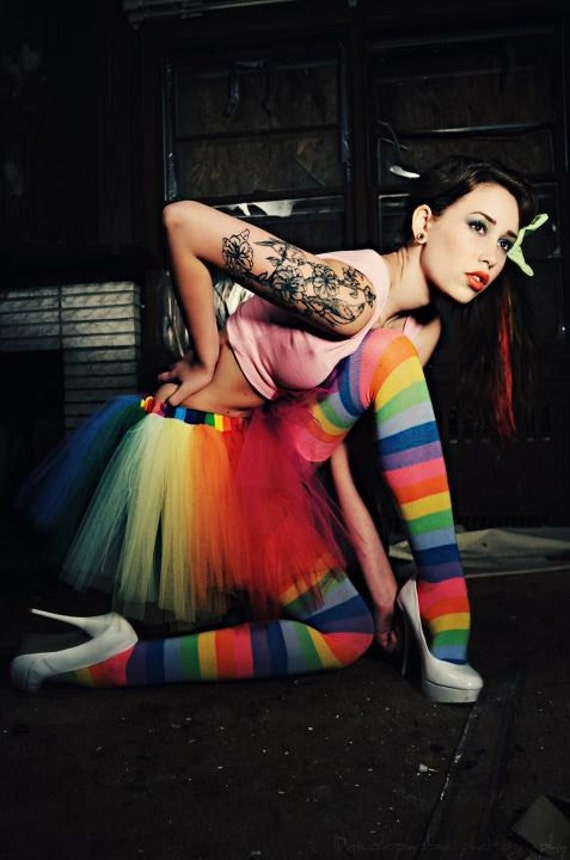 Adult tutu skirt Over the Rainbow extra poofy pride costume halloween roller derby gogo style -- You Choose Size -- Sisters of the Moon