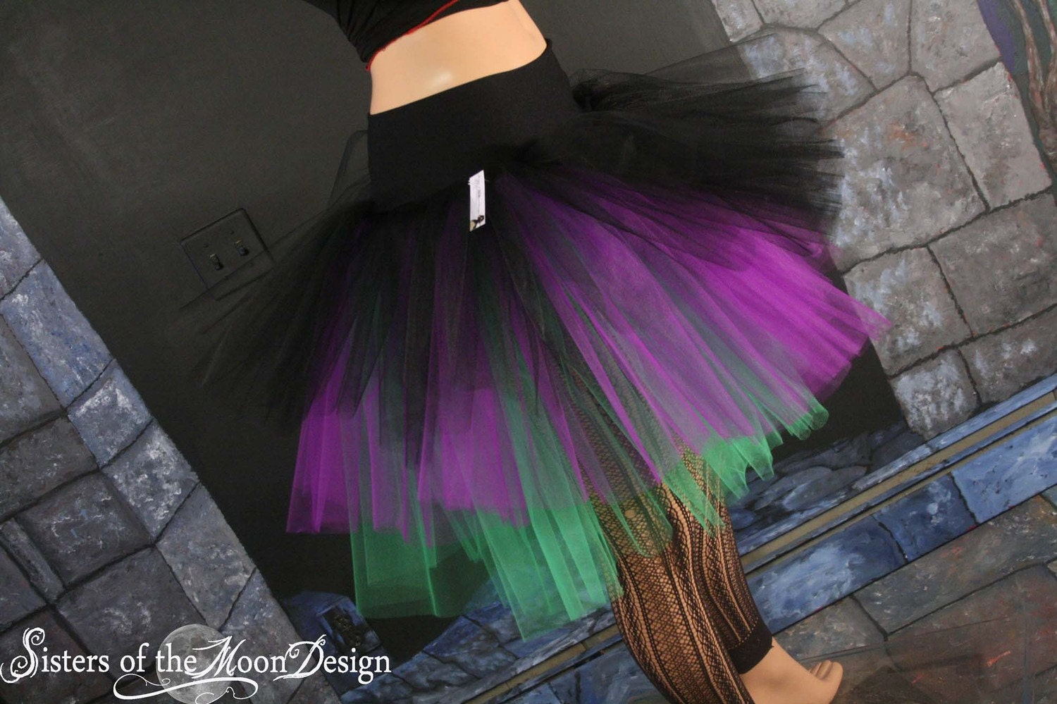 Witchy Tulle Skirt Three Layer Petticoat Tutu Black Purple